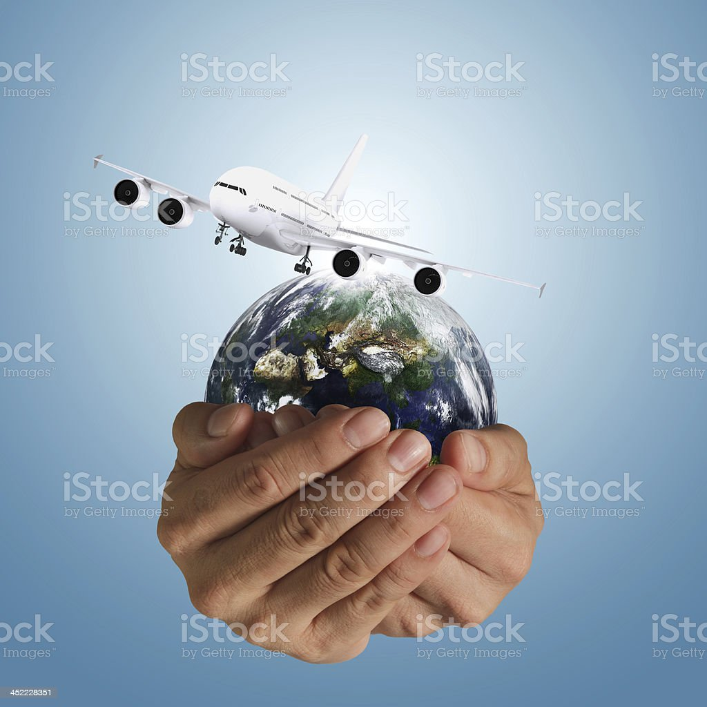 hand holds airbus plane royalty-free stock photo