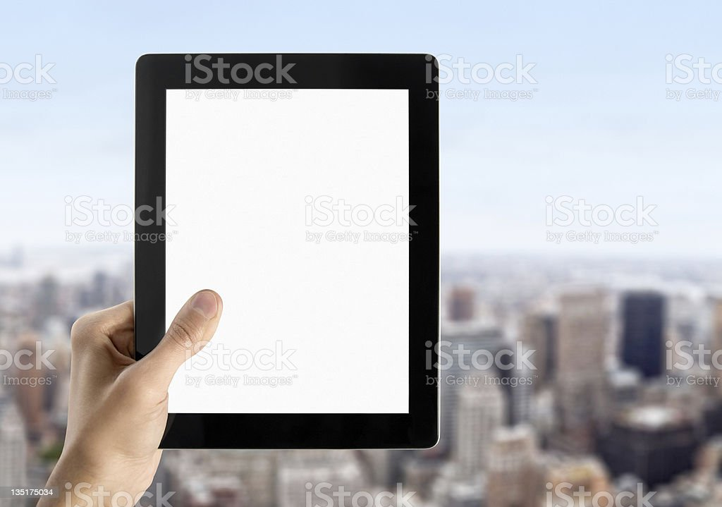 Hand Holds Blank Tablet PC royalty-free stock photo