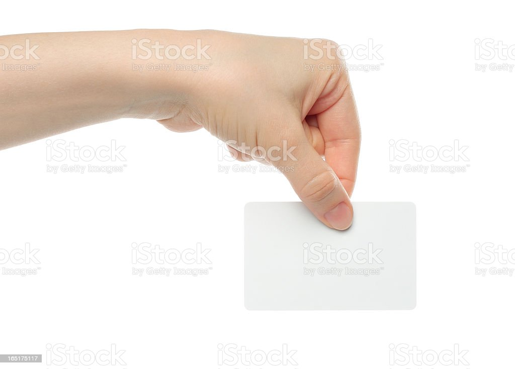 Hand holds business card royalty-free stock photo