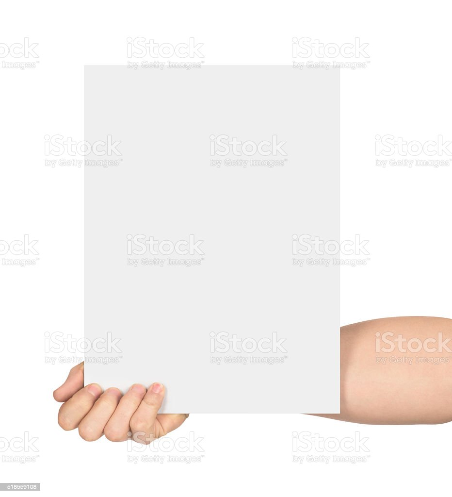 hand holds empty sheet of paper stock photo