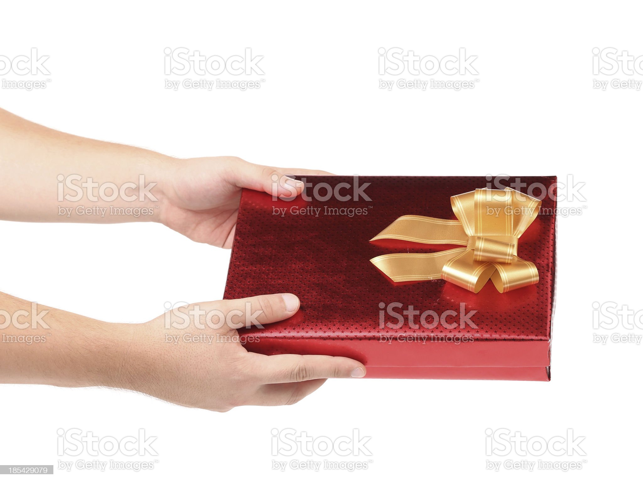 Hand holds gift box royalty-free stock photo