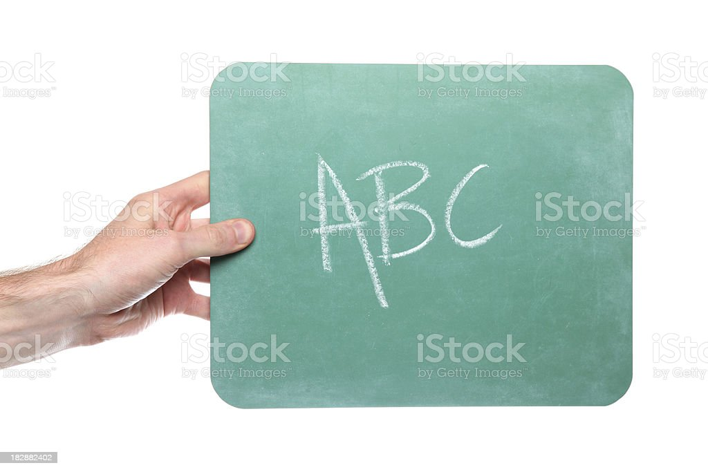 Hand holds green chalkboard with ABC written on it royalty-free stock photo