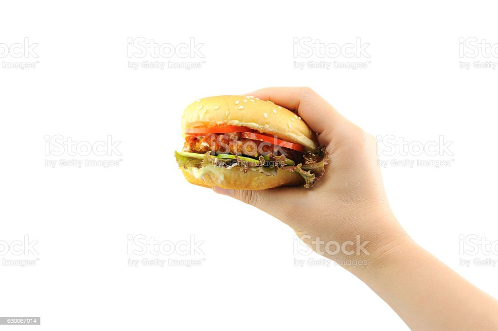 Hand holds Meat hamberger, Junk food yummy stock photo