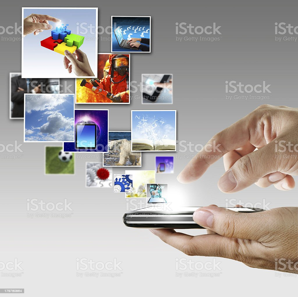 hand holds touch screen mobile phone streaming images royalty-free stock photo
