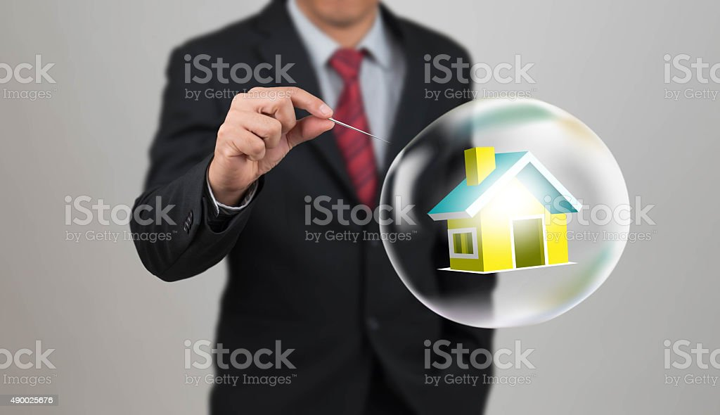 hand hole needle with housel in bubble stock photo