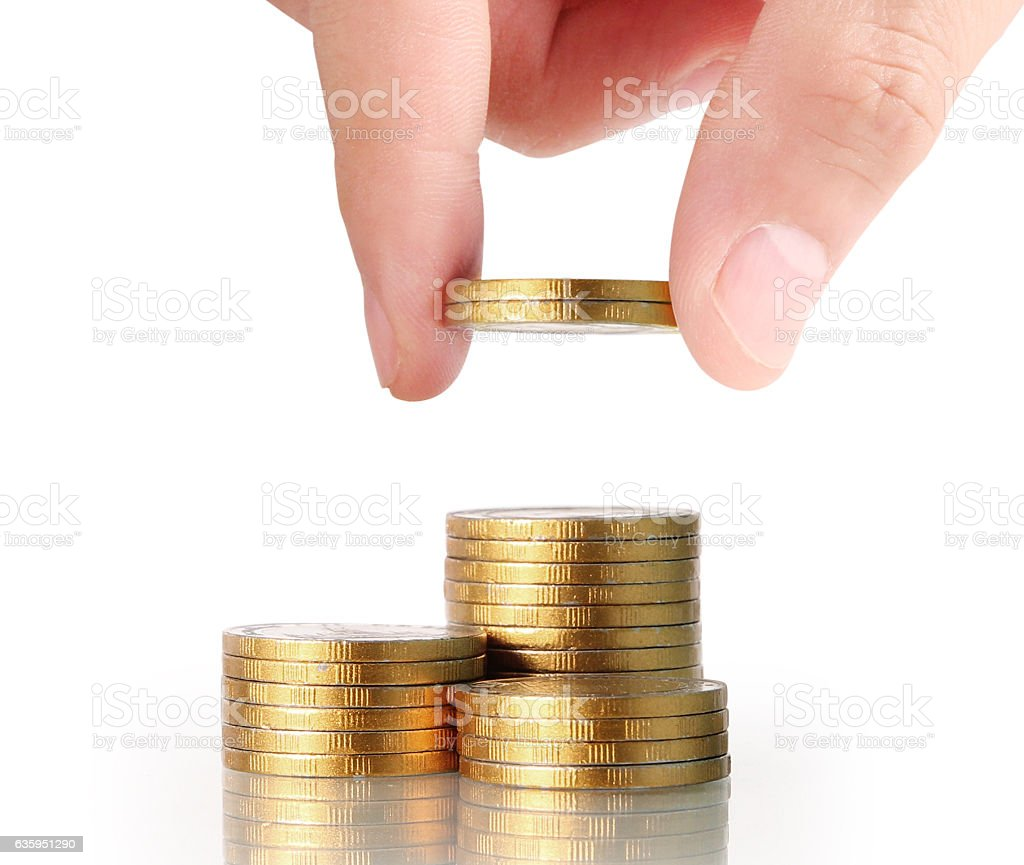 Hand human hand putting coin to money stock photo