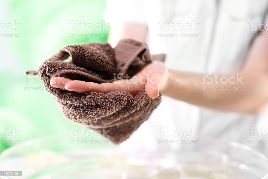 Hand hygiene, brawn towel stock photo