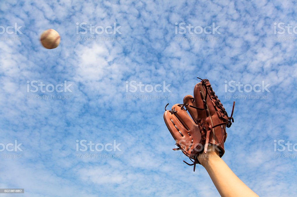 hand in baseball glove and ready to  catching the ball stock photo