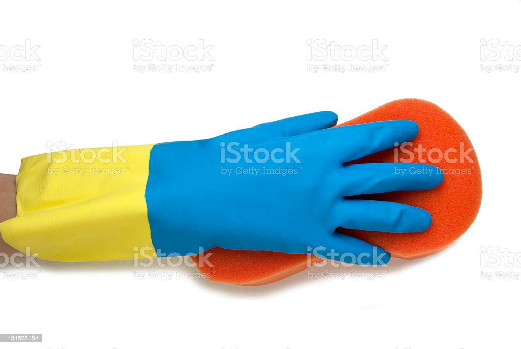 Hand in blue and yellow glove royalty-free stock photo