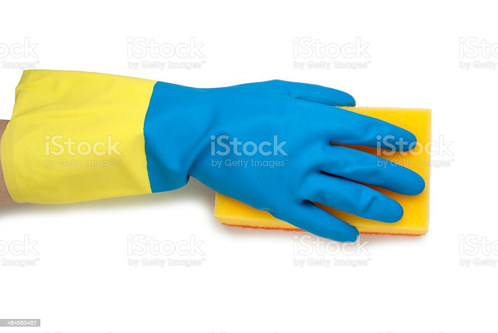 Hand in blue and yellow gloves royalty-free stock photo