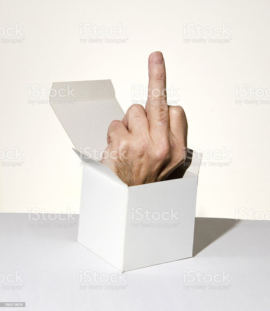 hand in box showing middle finger stock photo