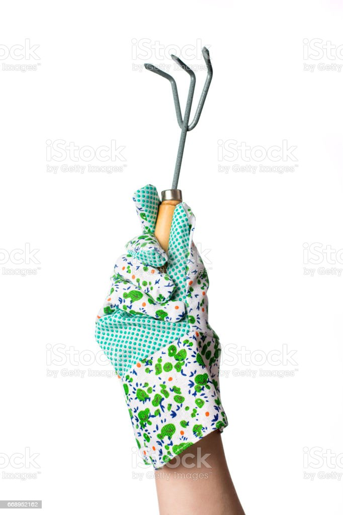 Hand in gardening glove holding a cultivator stock photo