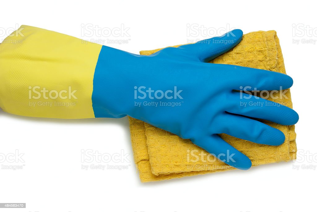 Hand in glove blue and yellow royalty-free stock photo