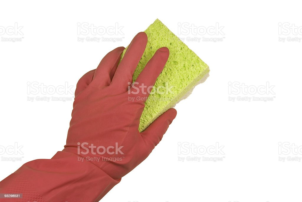 Hand In Glove With A Rag royalty-free stock photo
