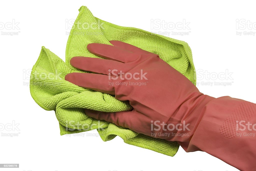 Hand In Glove With A Rag stock photo