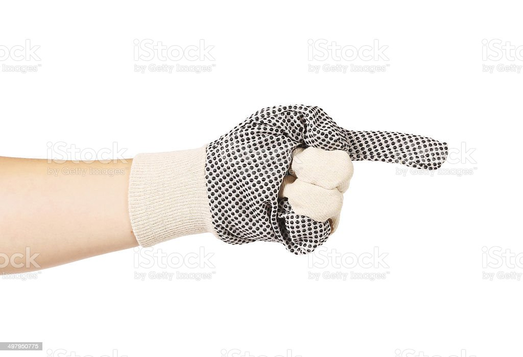 Hand in gloves shows one. stock photo