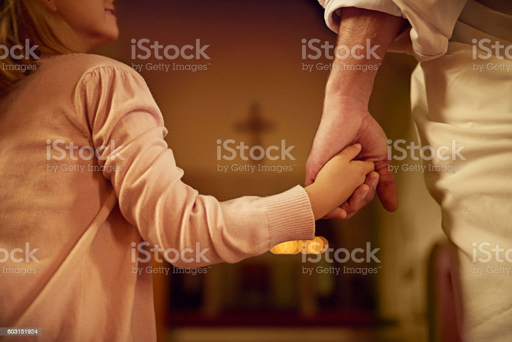 Hand in hand with her Saviour stock photo