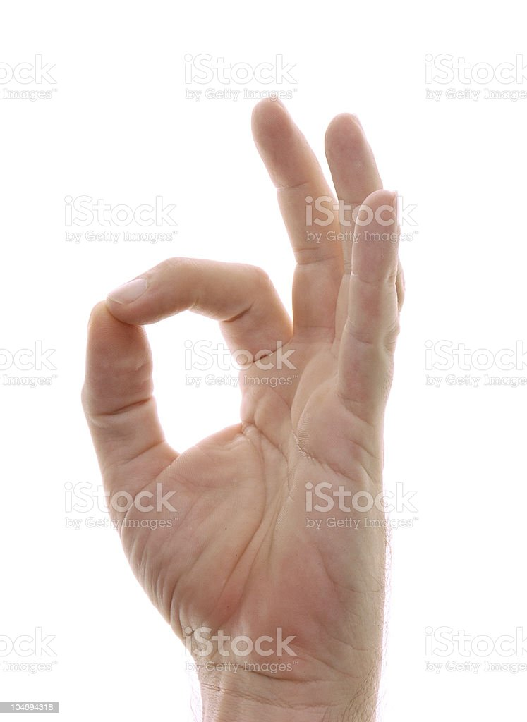hand in om position gesture on white royalty-free stock photo