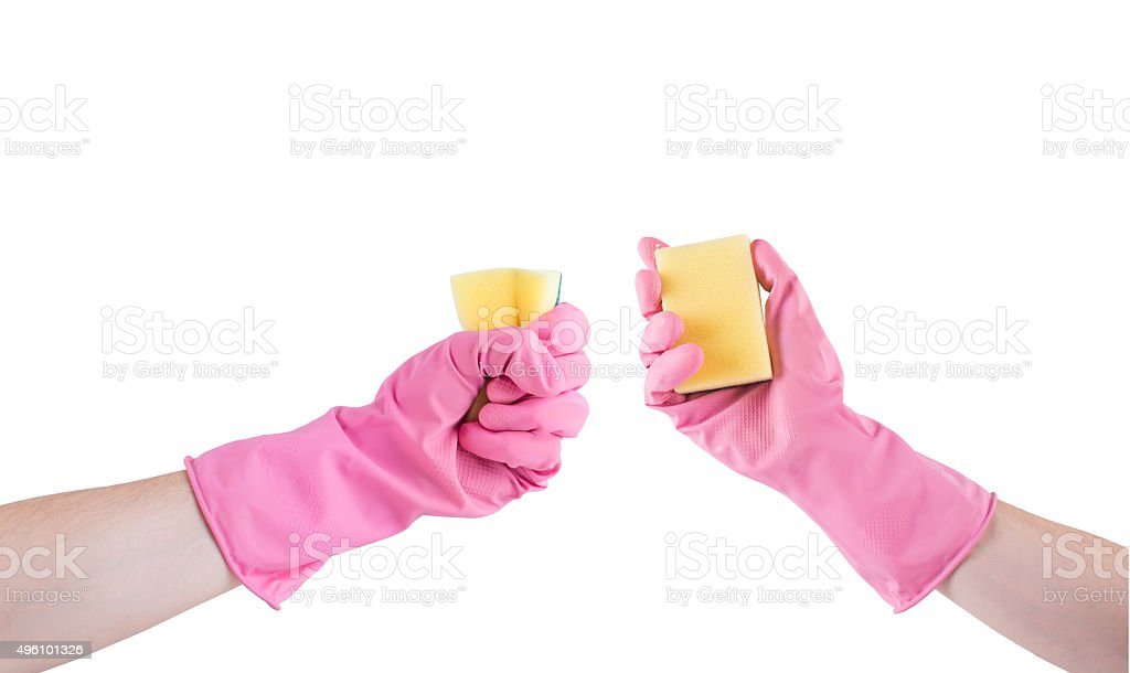 hand in pink rubber glove with sponge isolated on white stock photo