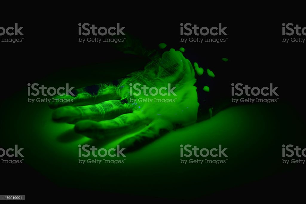 Hand in radioactive waste stock photo