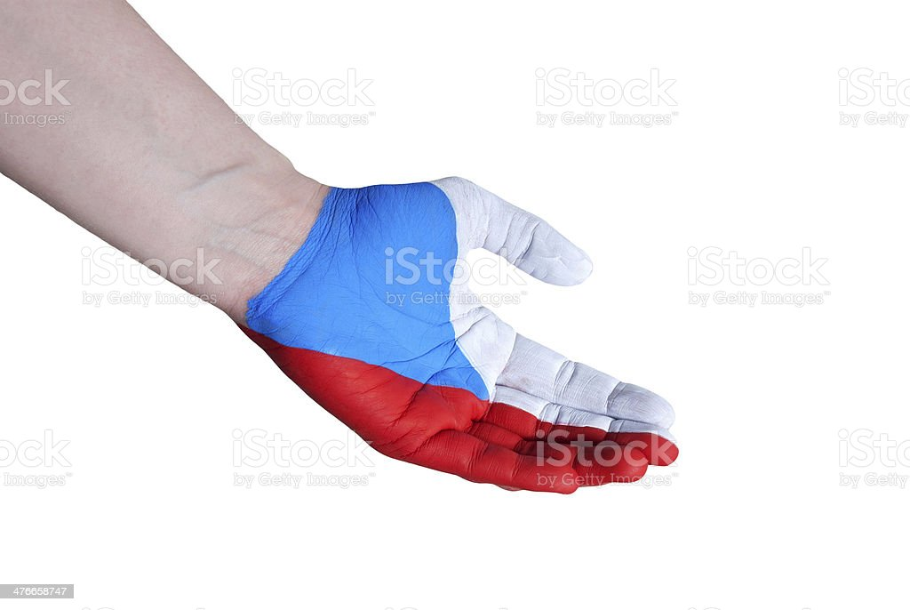 hand in the colors of czech republic royalty-free stock photo