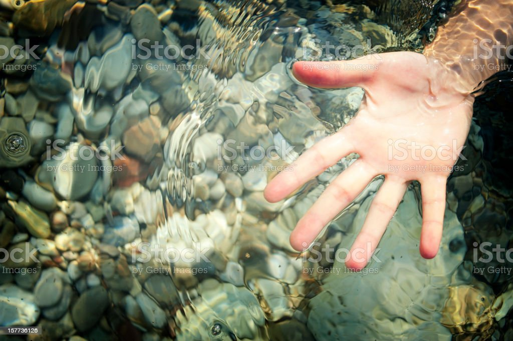 Hand in water stock photo