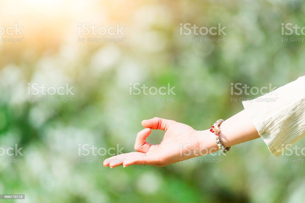Hand in yoga positions stock photo