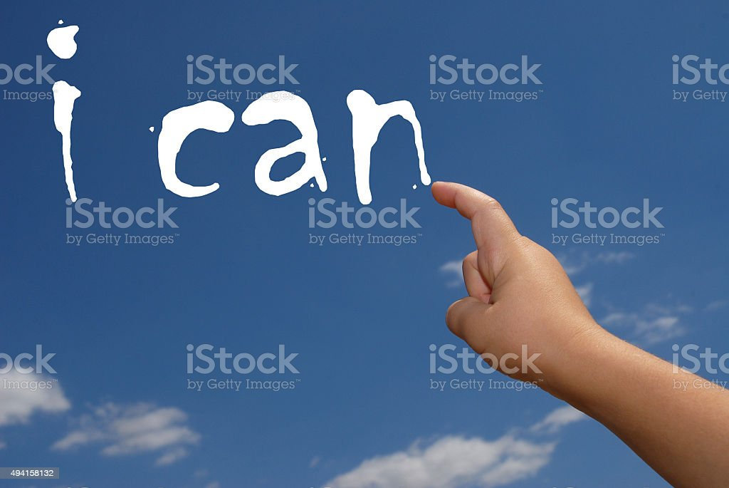hand indicate the word. I can stock photo