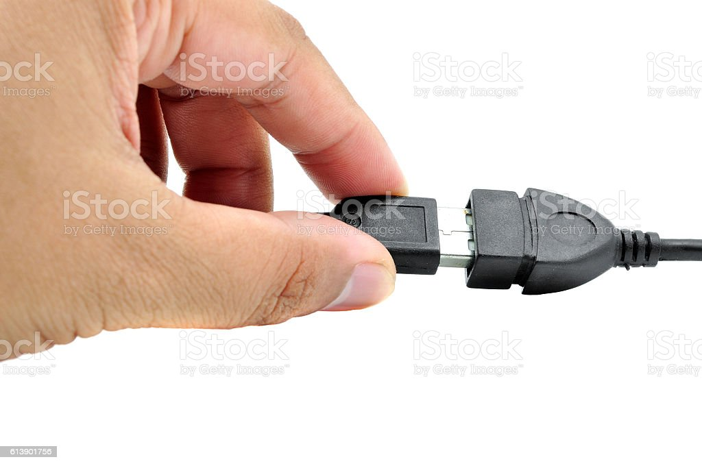 hand insert the cable usb stock photo