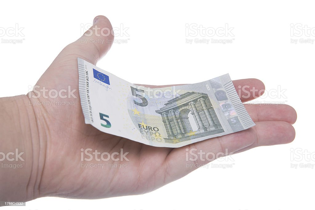 hand is holding a new 5 euro banknote stock photo