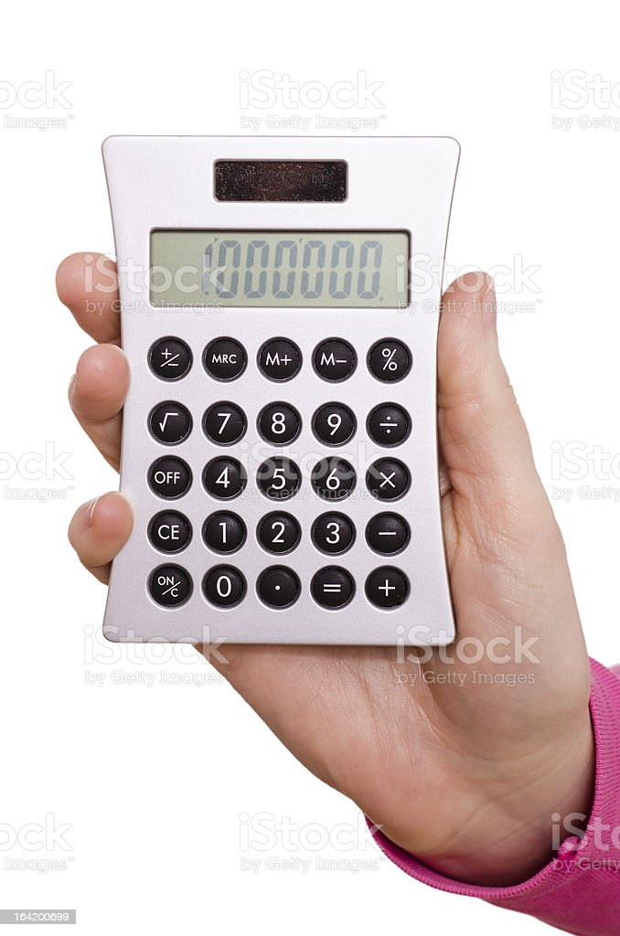 Hand is holding a pocket calculator stock photo