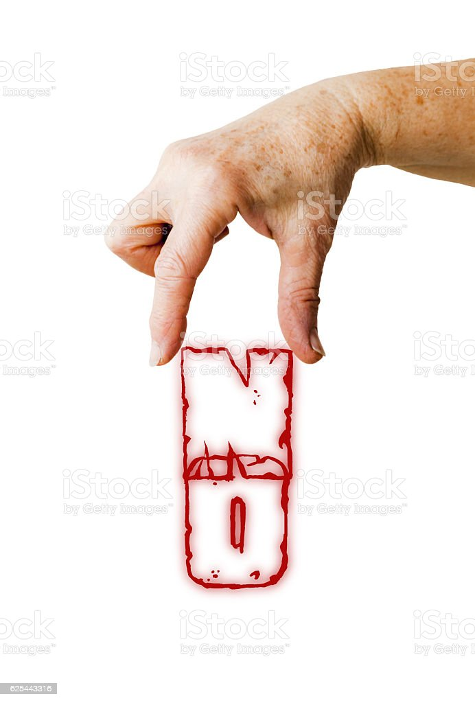 Hand is holding 'NO' write stock photo