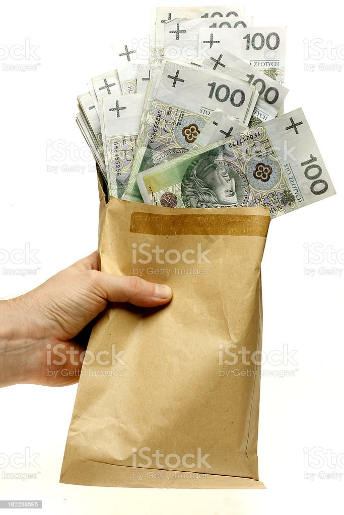 Hand is keeping paper bag with polish banknotes falling out royalty-free stock photo