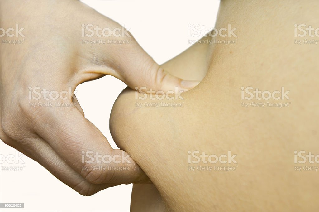 hand is measure the bodyfat stock photo