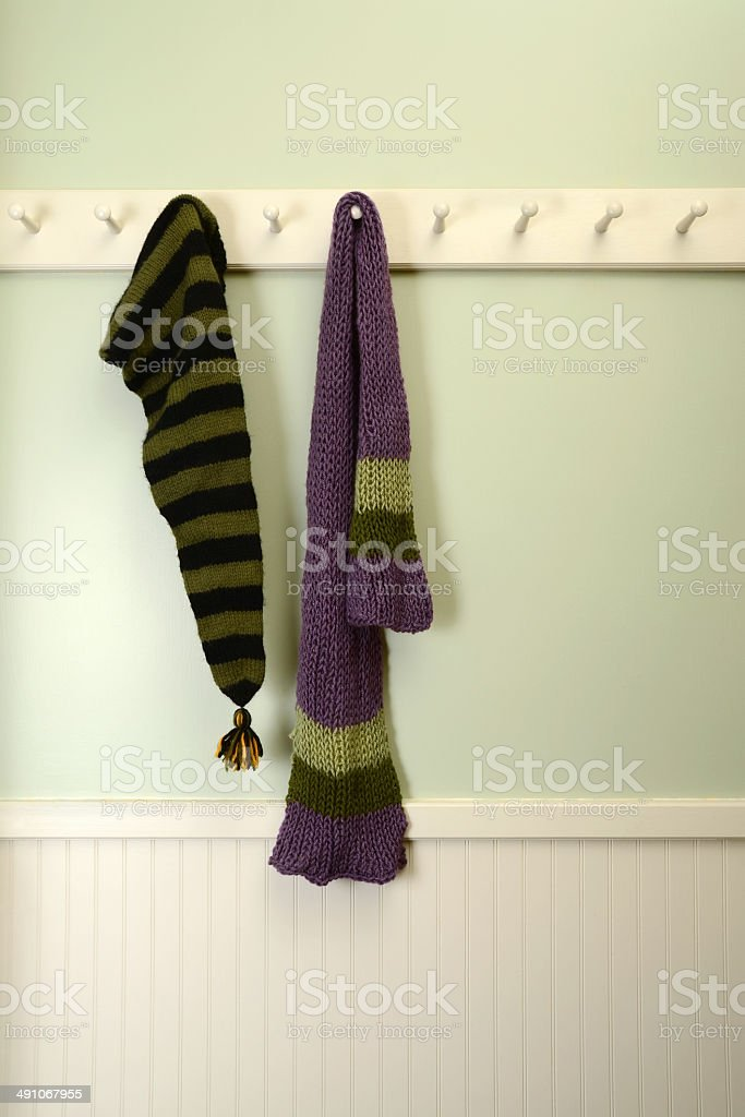 Hand knit Scarf and Stocking Cap stock photo