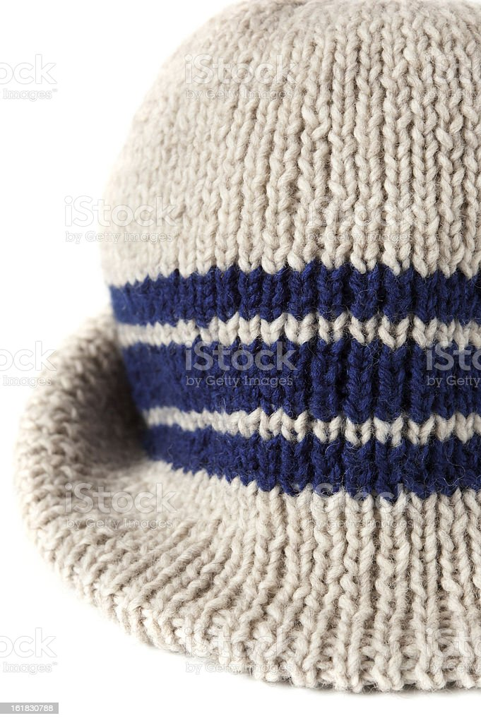 hand knitted stripe mens hat, fragment royalty-free stock photo