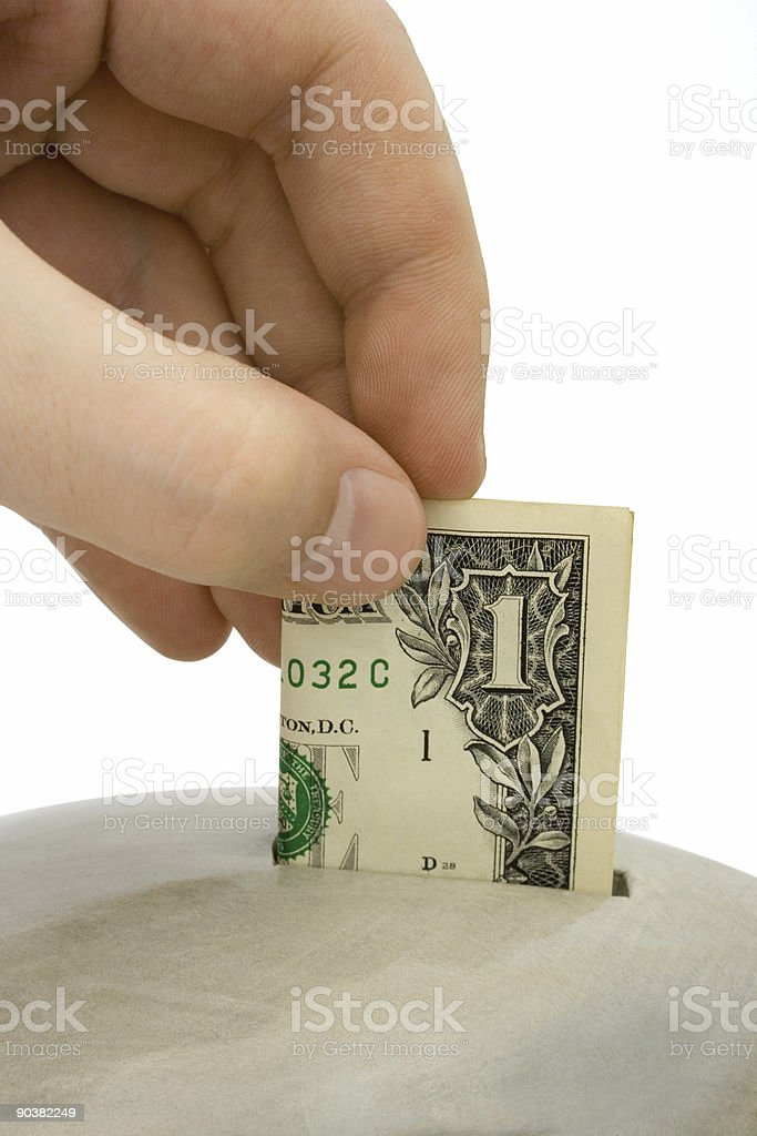 Hand load money to bank royalty-free stock photo