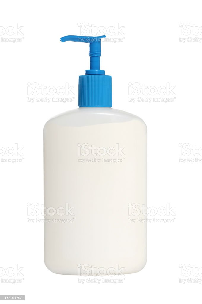 Hand Lotion Pump Bottle Isolated on White Background stock photo