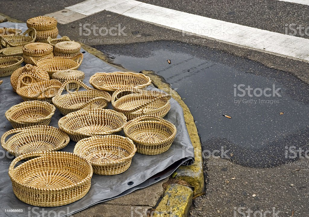 Hand Made Baskets On a Street Corner royalty-free stock photo