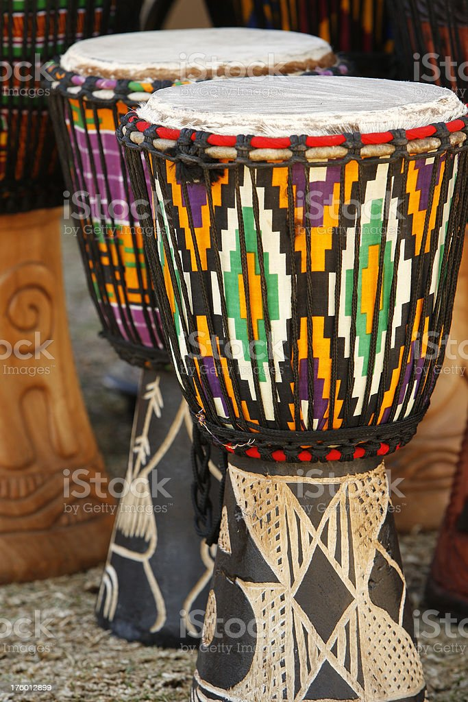 Hand made drums from South Africa royalty-free stock photo