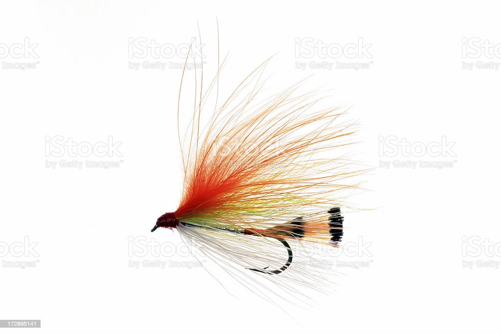 Hand Made Fly Fishing Lures Isolated on White Background royalty-free stock photo