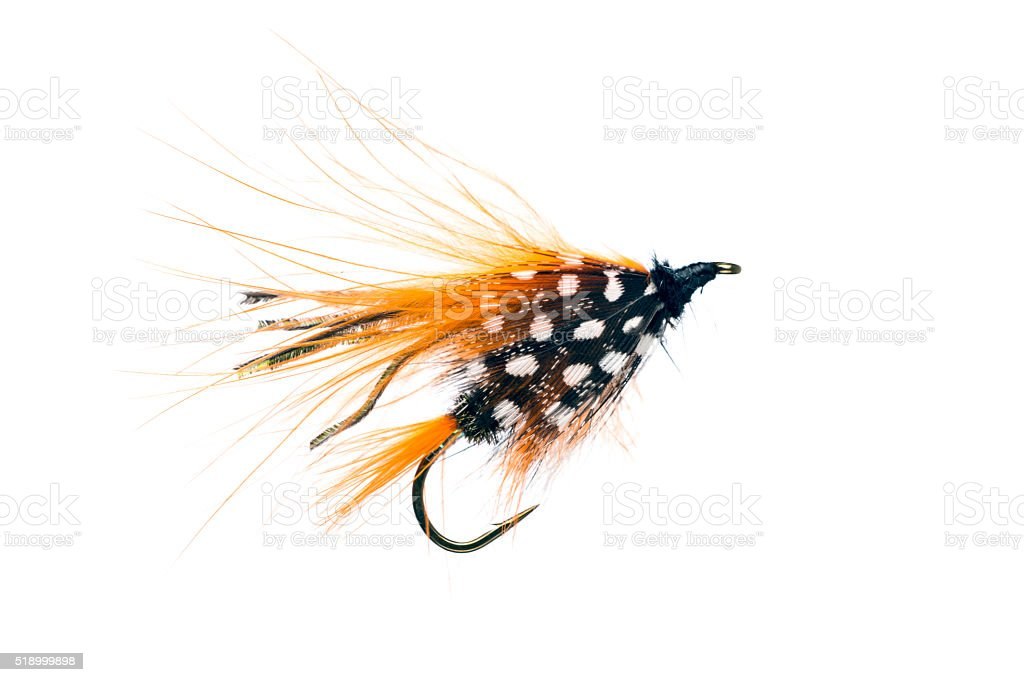 Hand Made Fly Fishing Lures Isolated on White Background stock photo