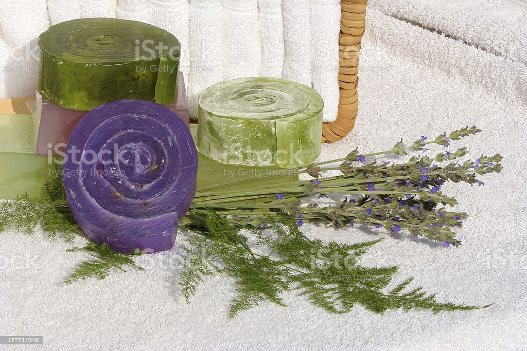 Hand Made Herbal Soap four stock photo