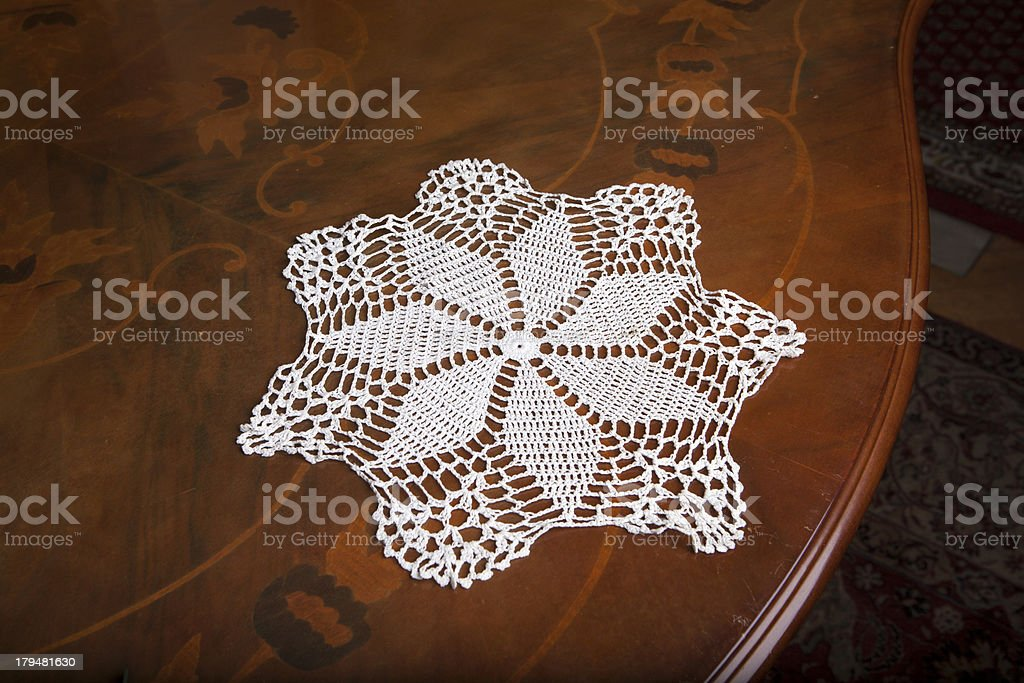 Hand made napkin on the beautiful table royalty-free stock photo
