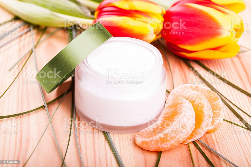 Hand made natural cosmetic - cream stock photo