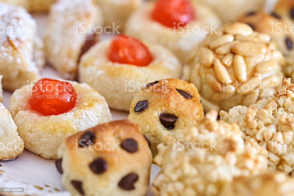 Hand made panellets in assorted tray stock photo