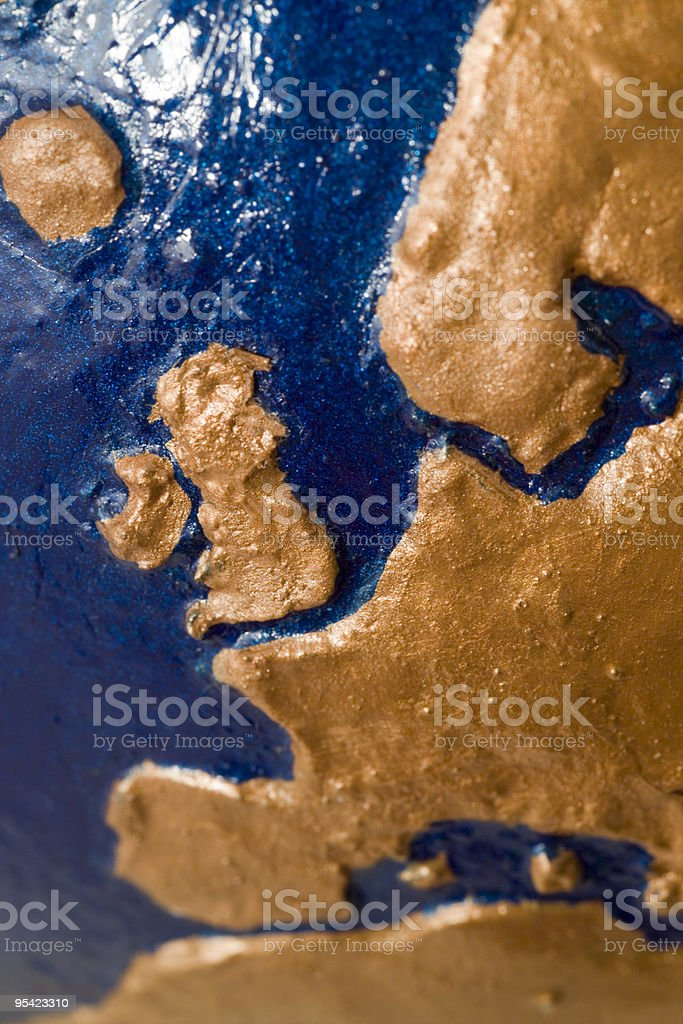 Hand made papier mache globe showing Western Europe stock photo