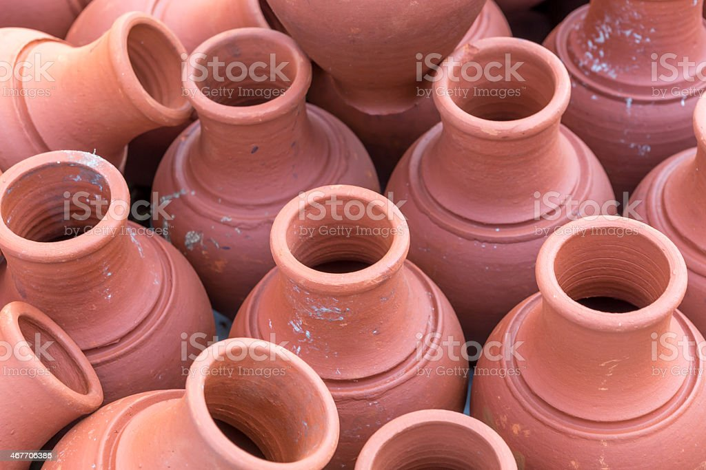hand made pottery stock photo