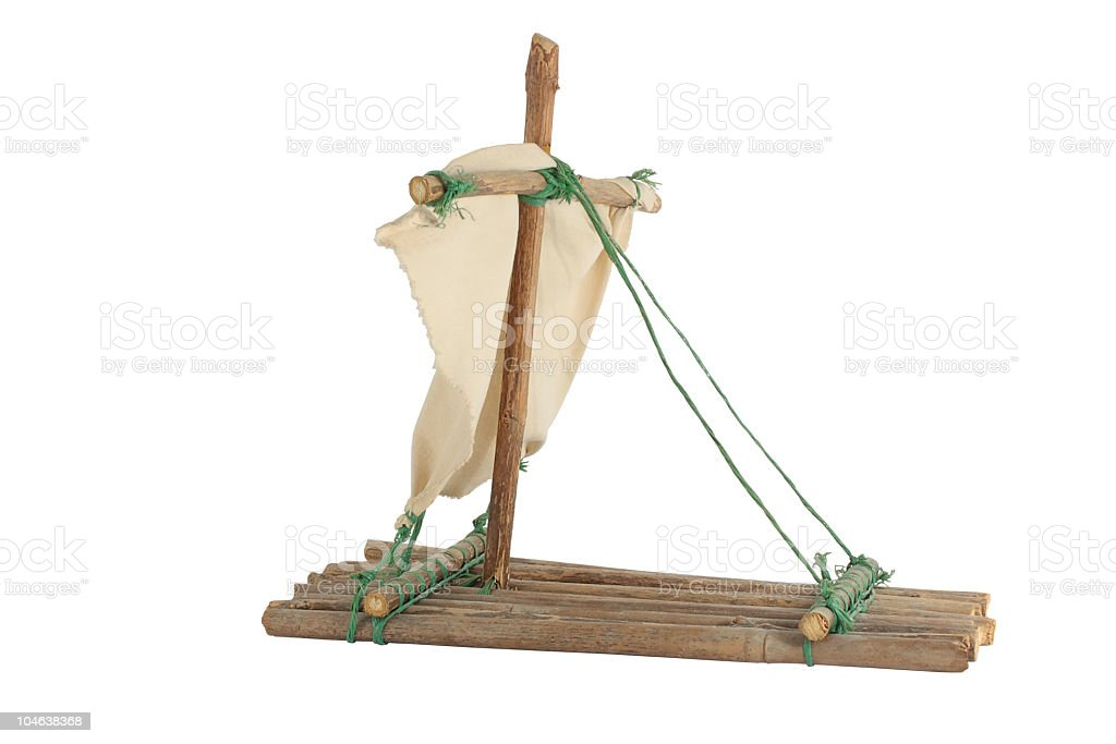 hand made raft isolated over white background stock photo