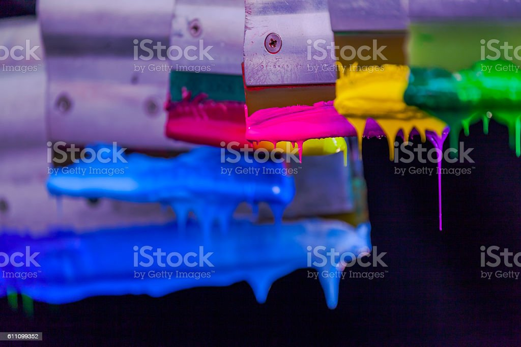 hand made screen printing on tee shirt stock photo